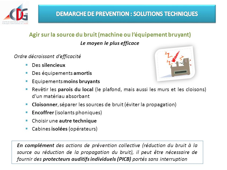 DEMARCHE DE PREVENTION : SOLUTIONS TECHNIQUES