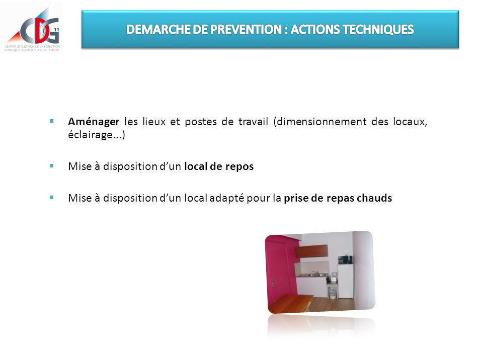 DEMARCHE DE PREVENTION : ACTIONS TECHNIQUES