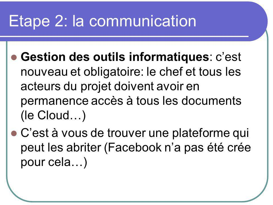 Etape 2: la communication