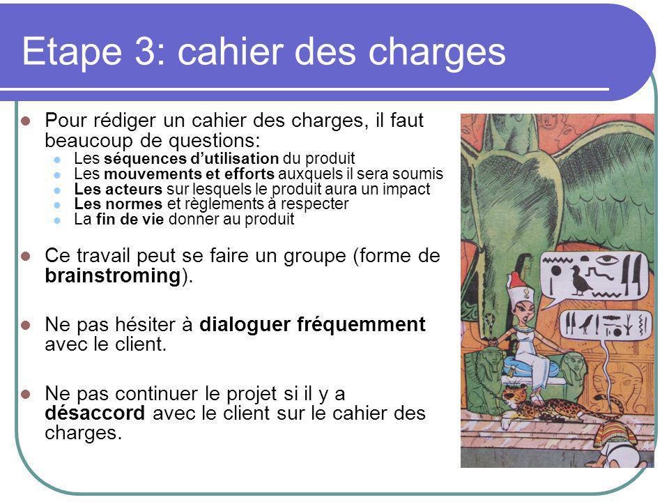 Etape 3: cahier des charges
