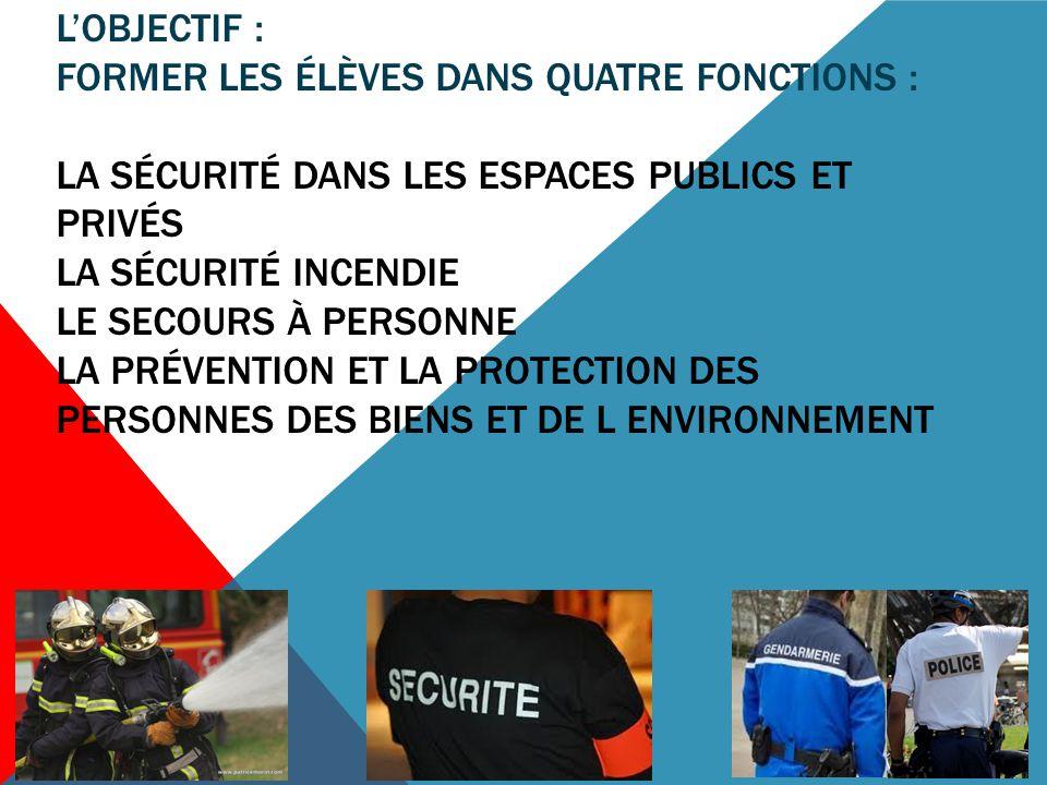 L'objectif : former les élèves dans quatre fonctions : la sécurité dans les espaces publics et privés la sécurité incendie le secours À personne la prévention et la protection des personnes DES BIENS ET DE L ENVIRONNEMENT
