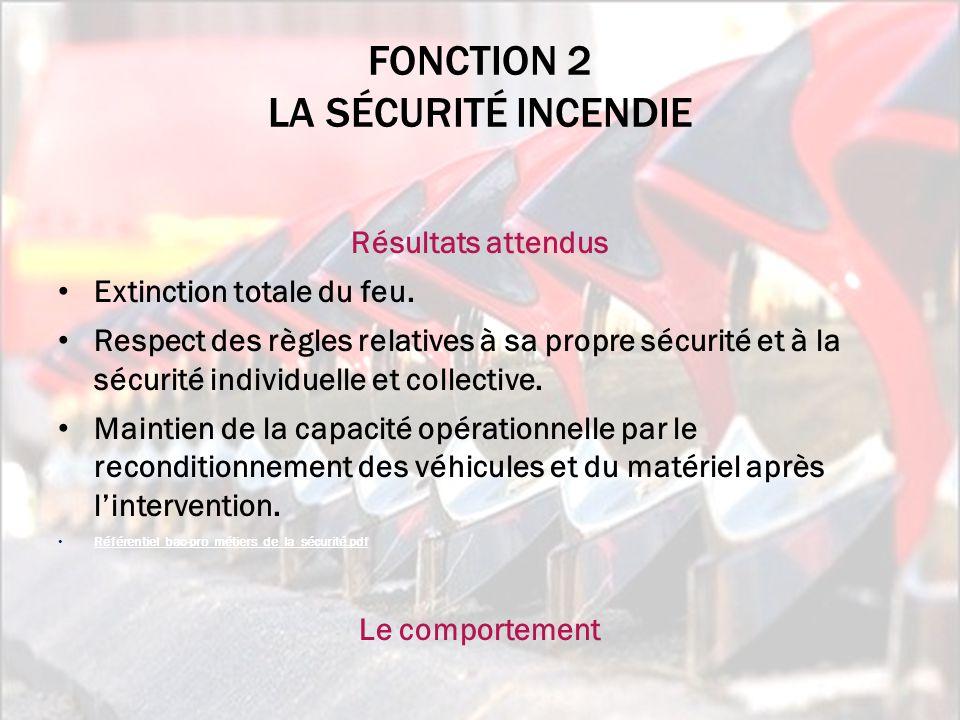 Fonction 2 la sécurité incendie