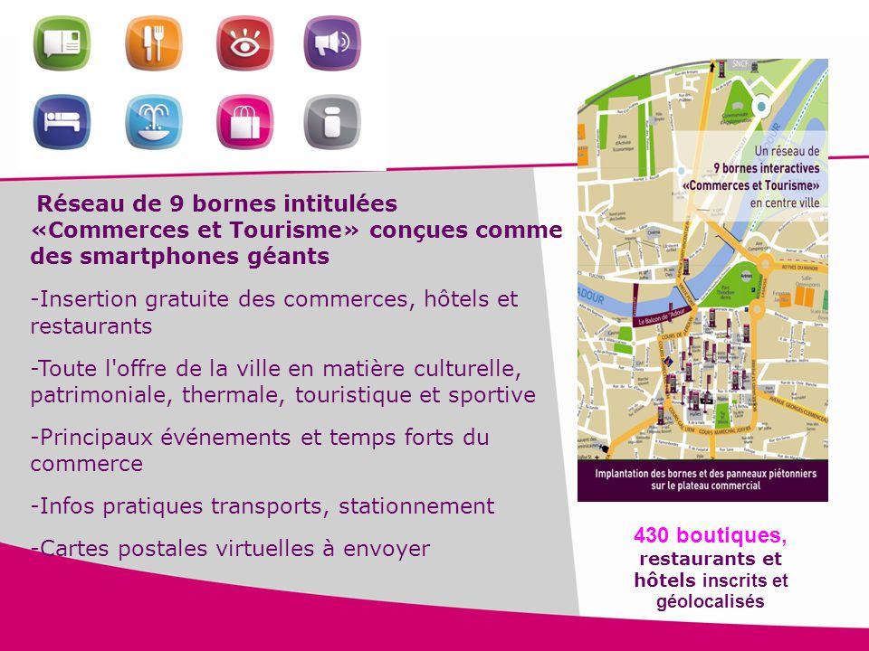 430 boutiques, restaurants et hôtels inscrits et géolocalisés