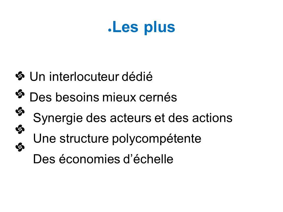 Les plus Un interlocuteur dédié Des besoins mieux cernés Synergie des acteurs et des actions Une structure polycompétente Des économies d'échelle