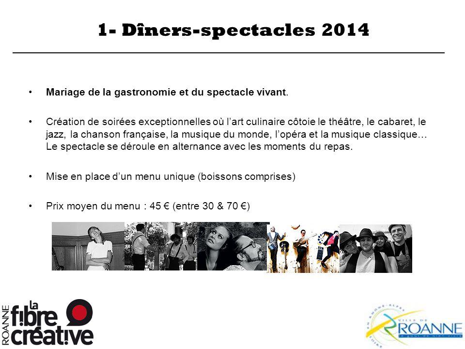 1- Dîners-spectacles 2014 Mariage de la gastronomie et du spectacle vivant.