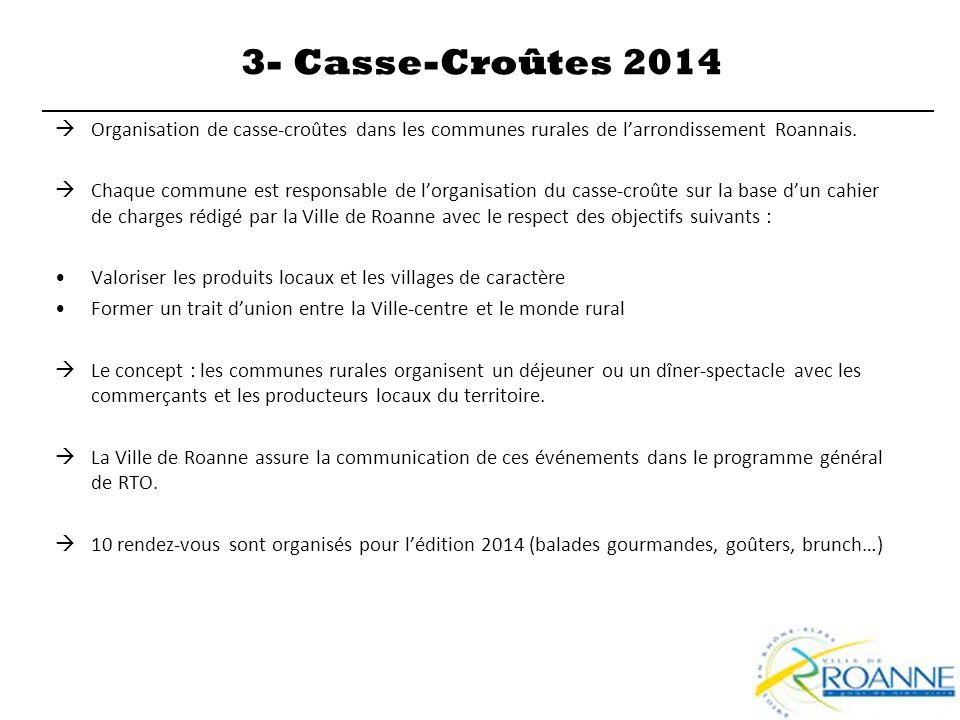 3- Casse-Croûtes 2014 Organisation de casse-croûtes dans les communes rurales de l'arrondissement Roannais.