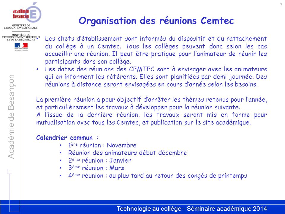 Organisation des réunions Cemtec