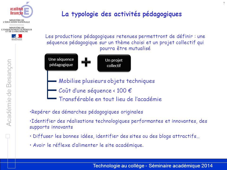 La typologie des activités pédagogiques