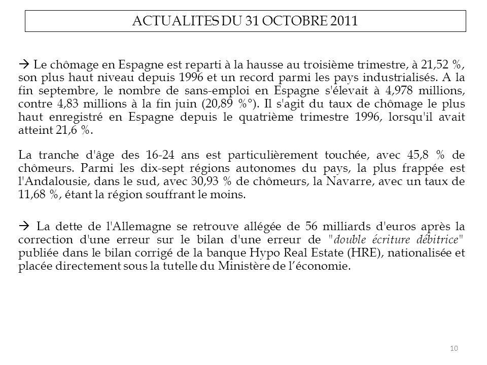 ACTUALITES DU 31 OCTOBRE 2011