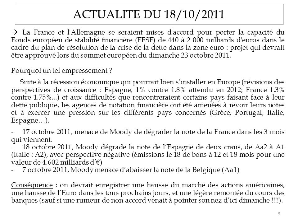 ACTUALITE DU 18/10/2011
