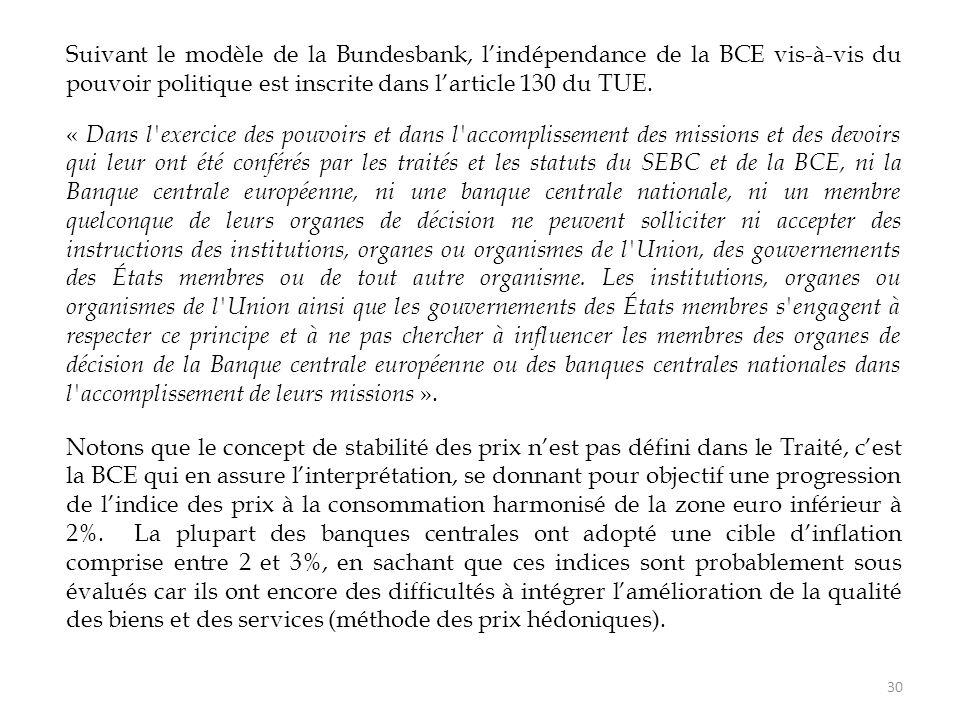 Suivant le modèle de la Bundesbank, l'indépendance de la BCE vis-à-vis du pouvoir politique est inscrite dans l'article 130 du TUE.