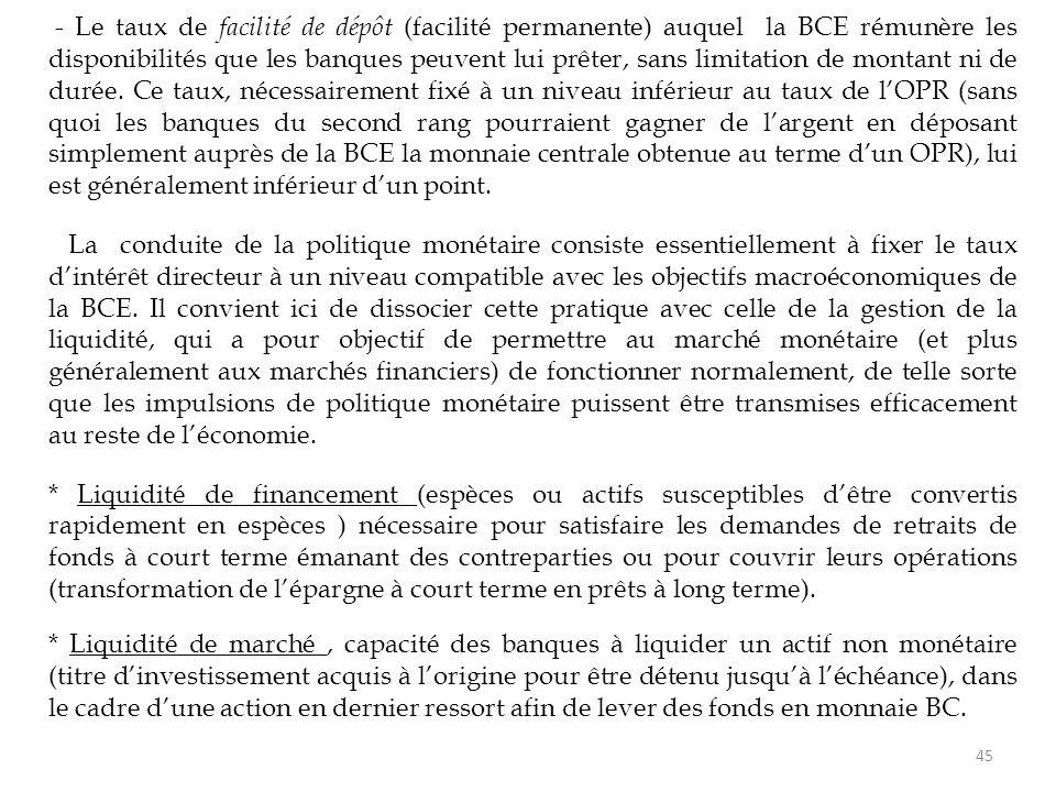 - Le taux de facilité de dépôt (facilité permanente) auquel la BCE rémunère les disponibilités que les banques peuvent lui prêter, sans limitation de montant ni de durée. Ce taux, nécessairement fixé à un niveau inférieur au taux de l'OPR (sans quoi les banques du second rang pourraient gagner de l'argent en déposant simplement auprès de la BCE la monnaie centrale obtenue au terme d'un OPR), lui est généralement inférieur d'un point.