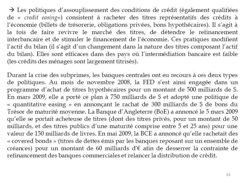  Les politiques d'assouplissement des conditions de crédit (également qualifiées de « credit easing») consistent à racheter des titres représentatifs des crédits à l'économie (billets de trésorerie, obligations privées, bons hypothécaires). Il s'agit à la fois de faire revivre le marché des titres, de détendre le refinancement interbancaire et de stimuler le financement de l'économie. Ces pratiques modifient l'actif du bilan (il s'agit d'un changement dans la nature des titres composant l'actif du bilan). Elles sont efficaces dans des pays où l'intermédiation bancaire est faible (les crédits des ménages sont largement titrisés).