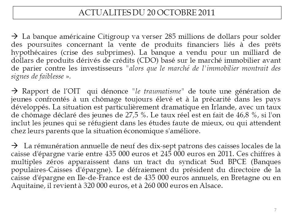 ACTUALITES DU 20 OCTOBRE 2011