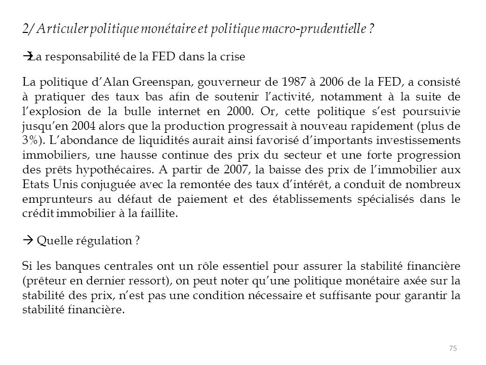 2/ Articuler politique monétaire et politique macro-prudentielle