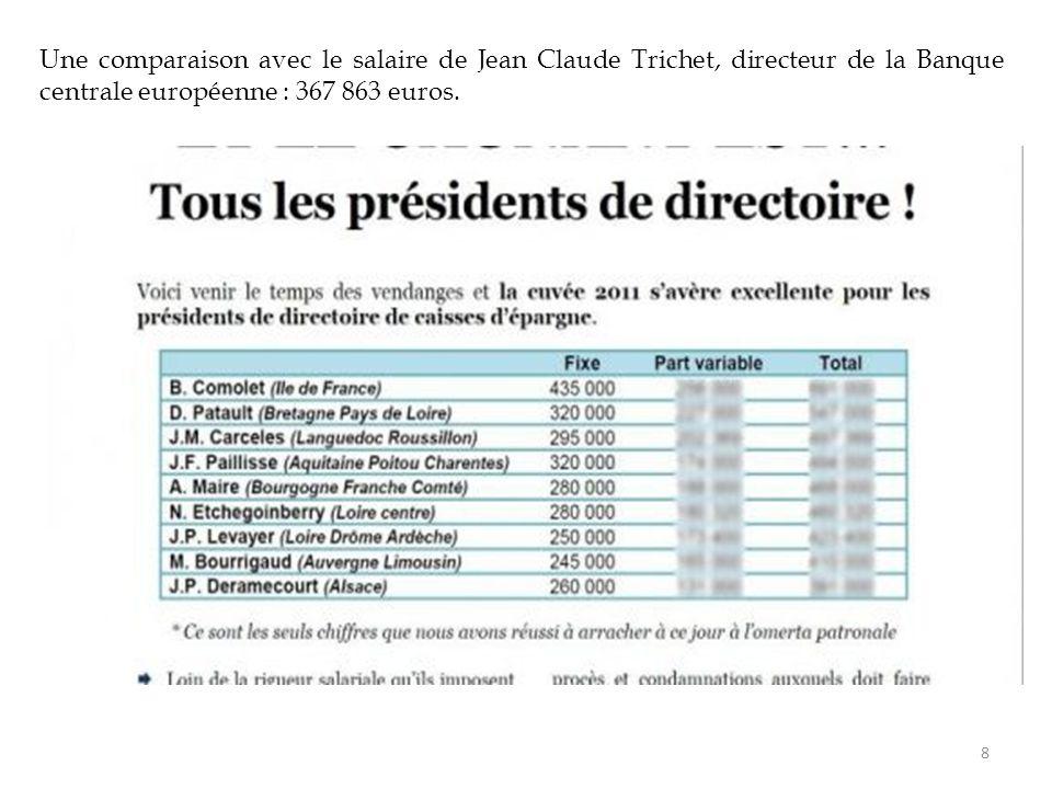 Une comparaison avec le salaire de Jean Claude Trichet, directeur de la Banque centrale européenne : 367 863 euros.