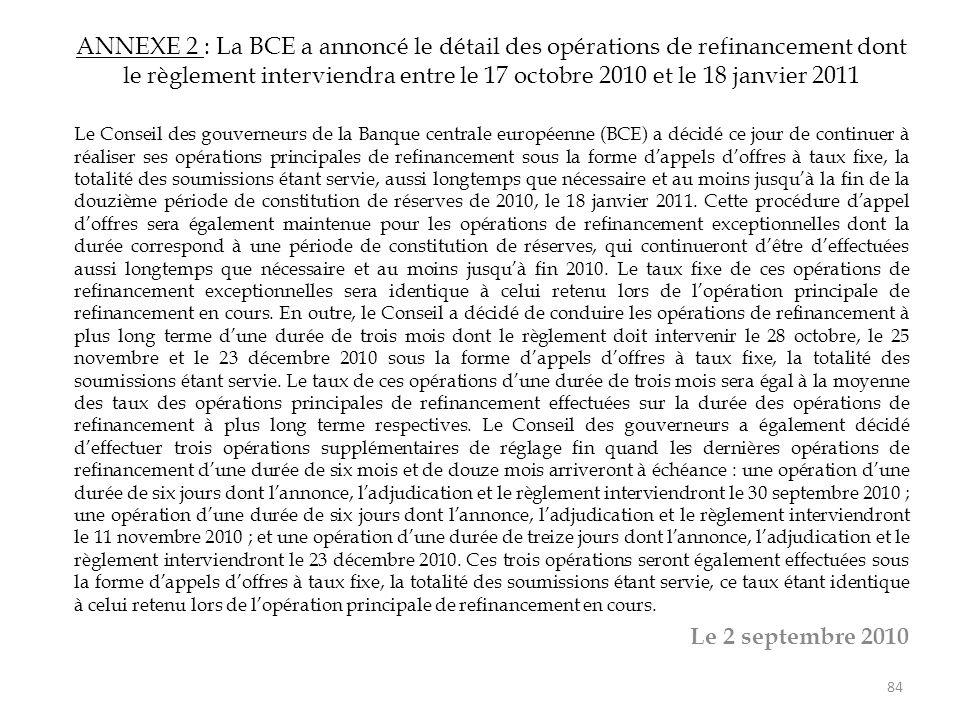 ANNEXE 2 : La BCE a annoncé le détail des opérations de refinancement dont le règlement interviendra entre le 17 octobre 2010 et le 18 janvier 2011