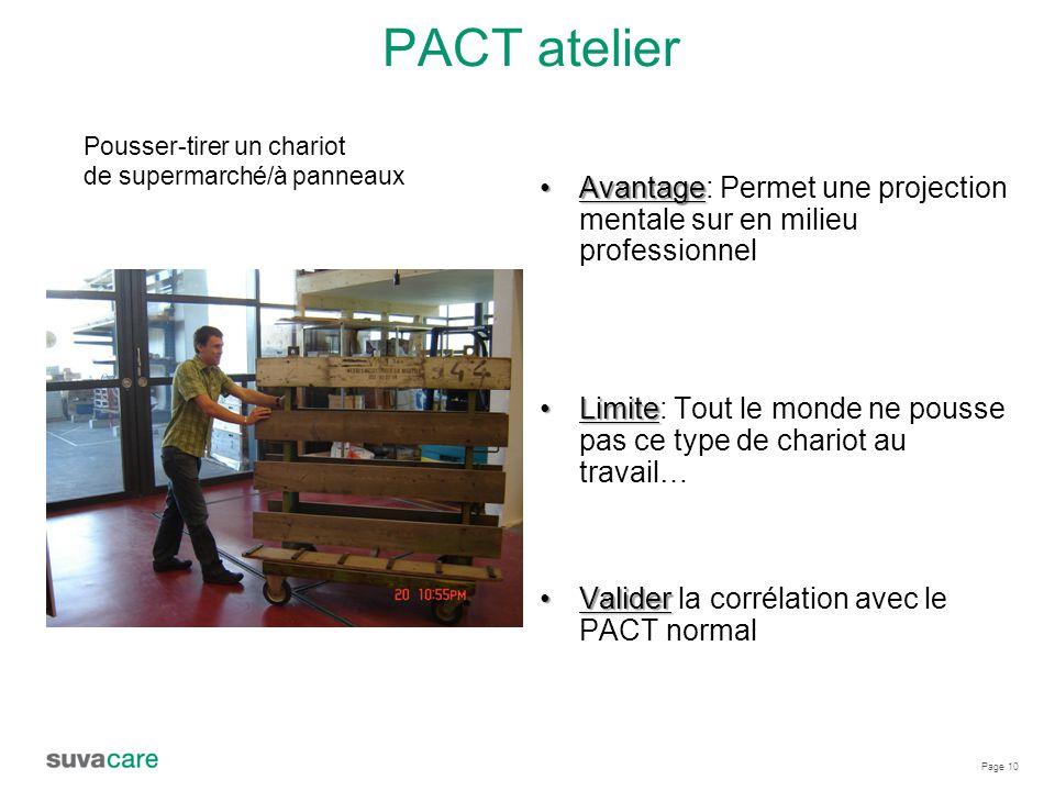 PACT atelier Pousser-tirer un chariot. de supermarché/à panneaux. Avantage: Permet une projection mentale sur en milieu professionnel.
