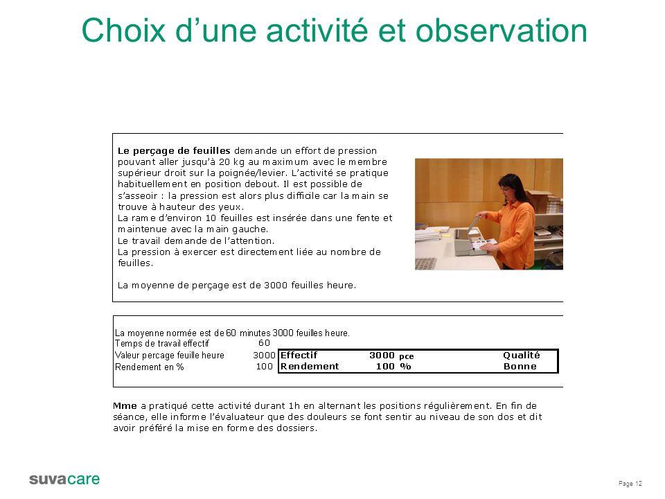 Choix d'une activité et observation
