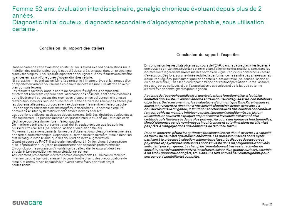 Conclusion du rapport des ateliers Conclusion du rapport d'expertise