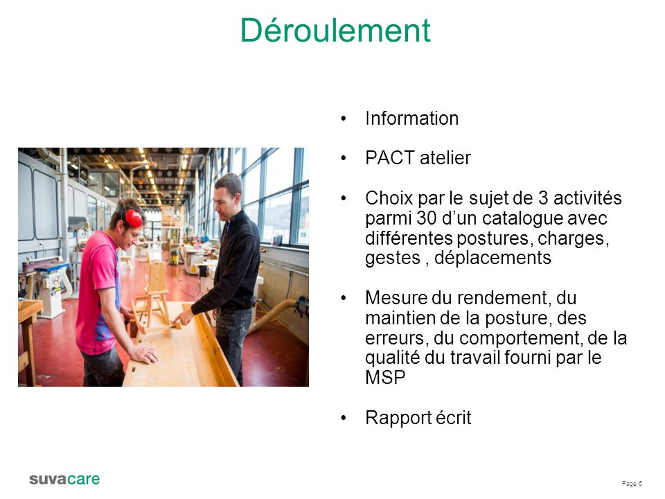 Déroulement Information PACT atelier