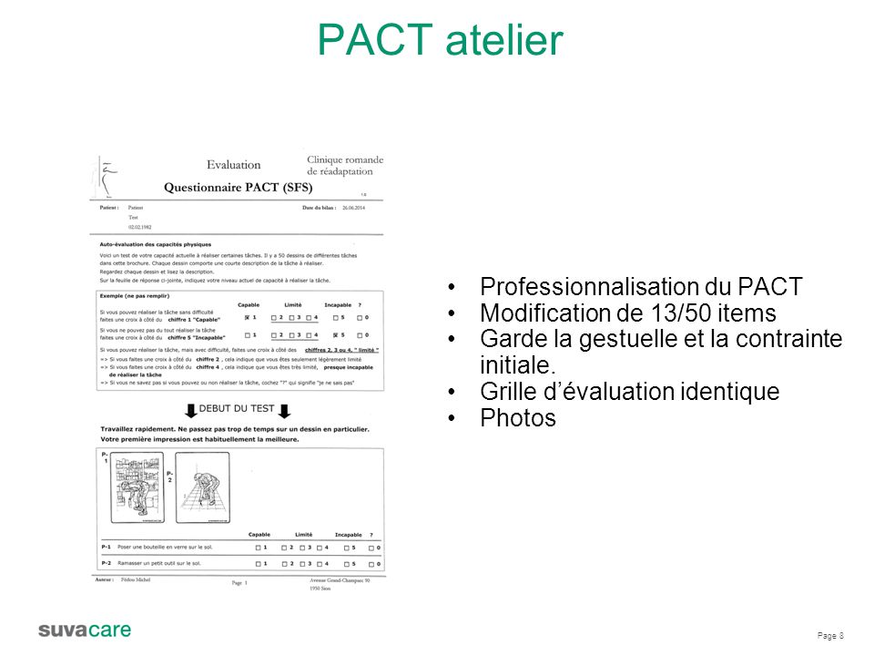 PACT atelier Professionnalisation du PACT Modification de 13/50 items