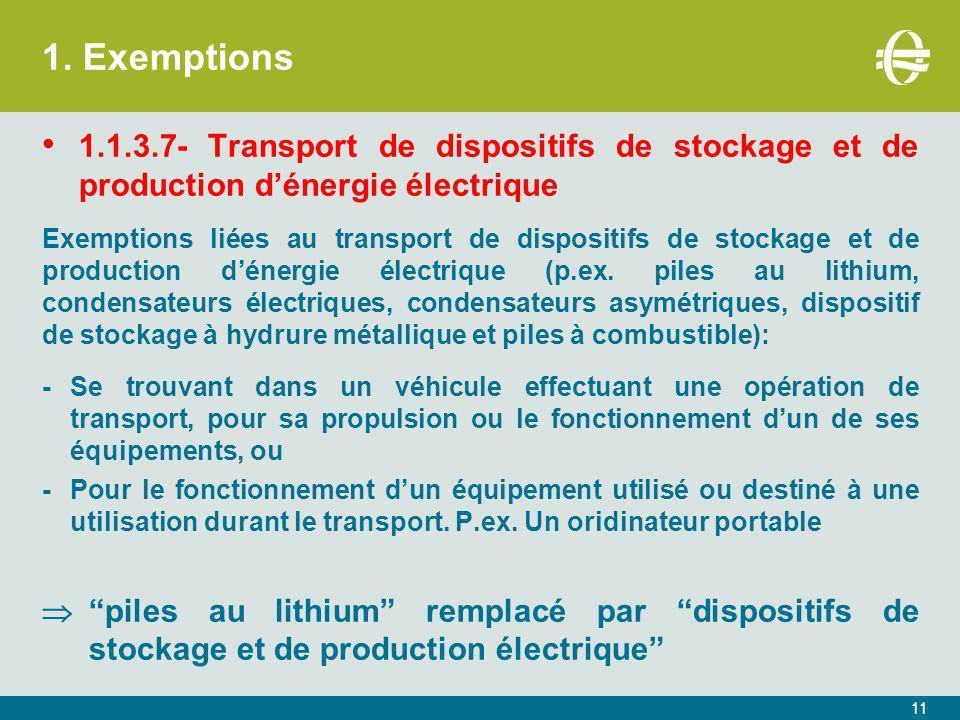 1. Exemptions 1.1.3.7- Transport de dispositifs de stockage et de production d'énergie électrique.
