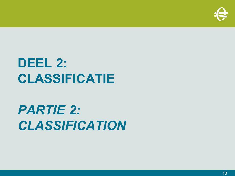 Deel 2: CLASSIFICATIE PARTIE 2: CLASSIFICATION