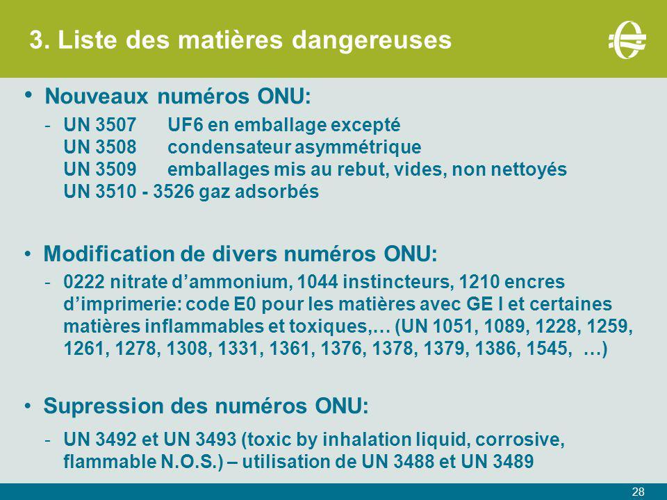 3. Liste des matières dangereuses