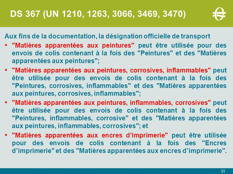 DS 367 (UN 1210, 1263, 3066, 3469, 3470) Aux fins de la documentation, la désignation officielle de transport.
