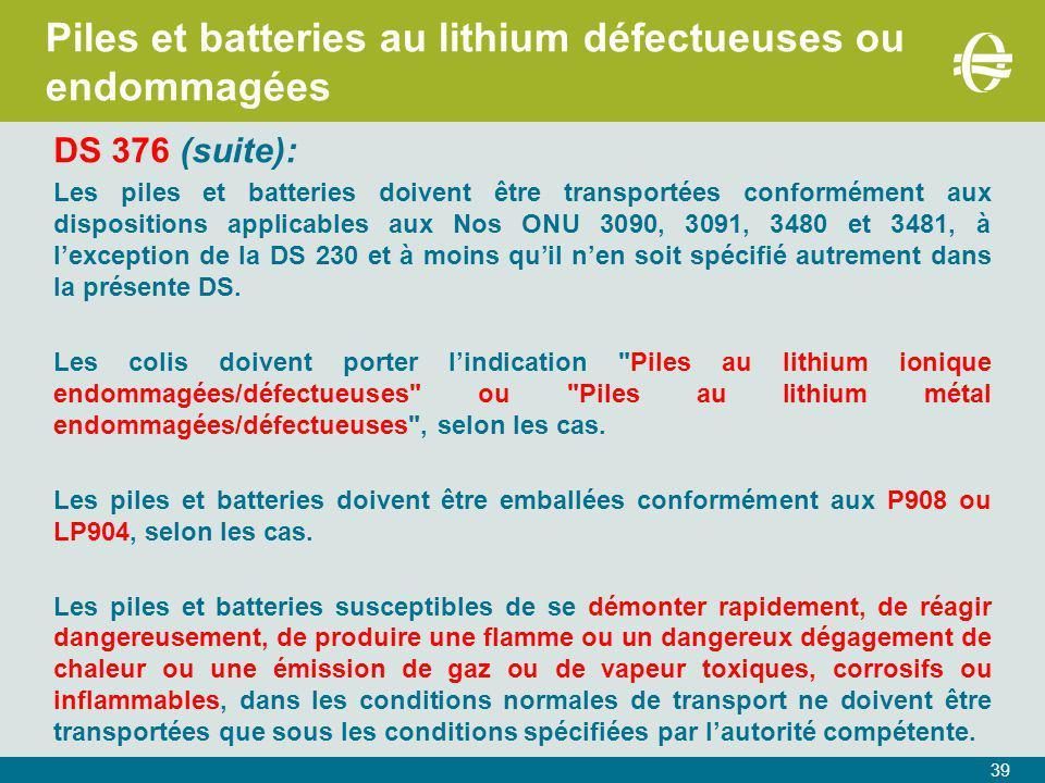 Piles et batteries au lithium défectueuses ou endommagées