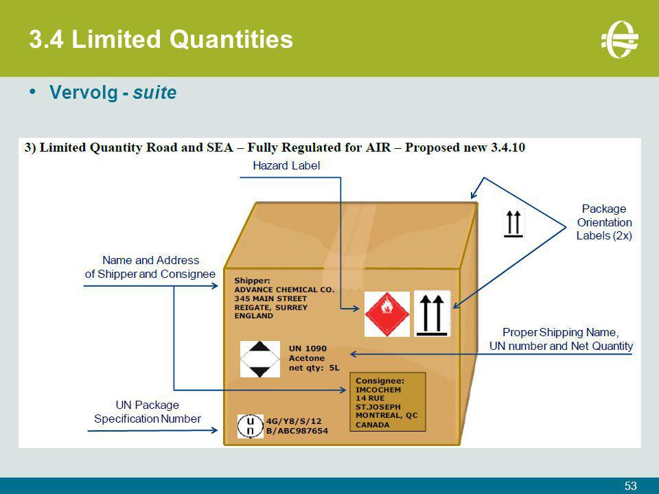 3.4 Limited Quantities Vervolg - suite