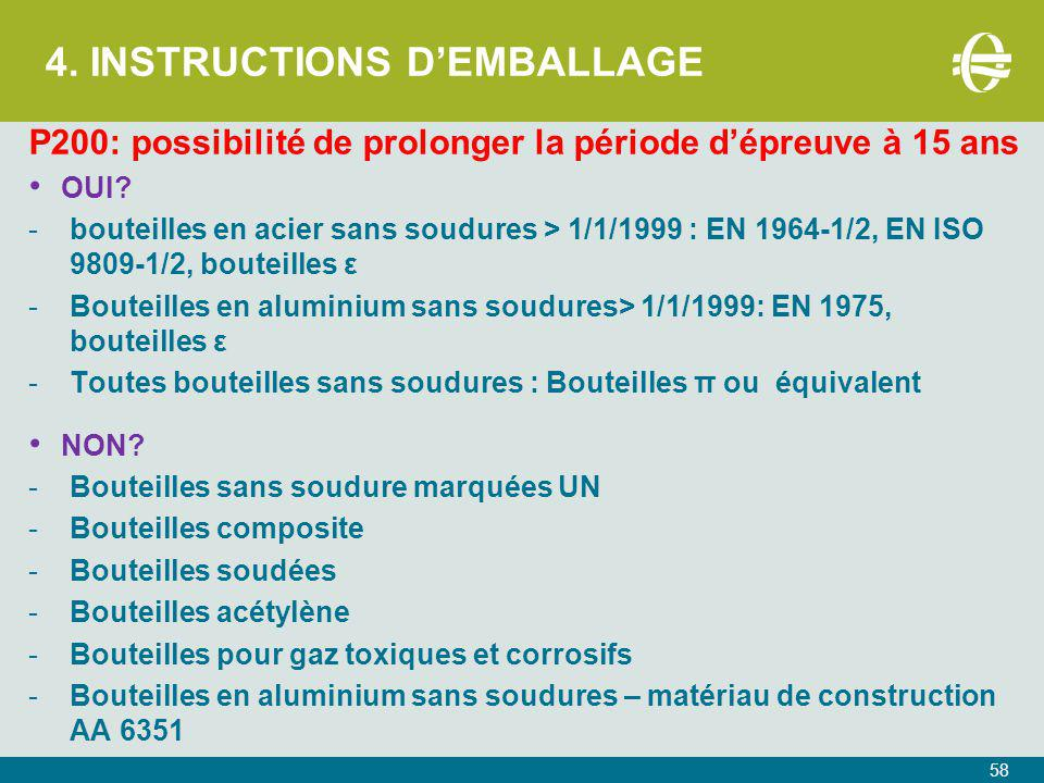 4. INSTRUCTIONS D'EMBALLAGE