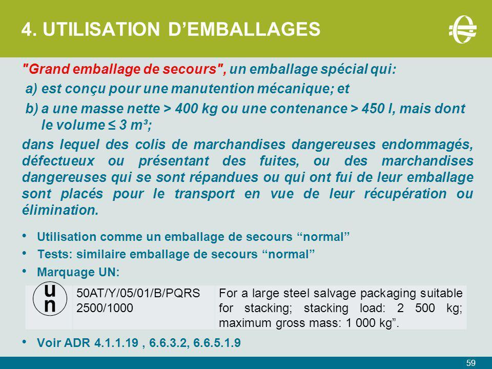 4. UTILISATION D'EMBALLAGES