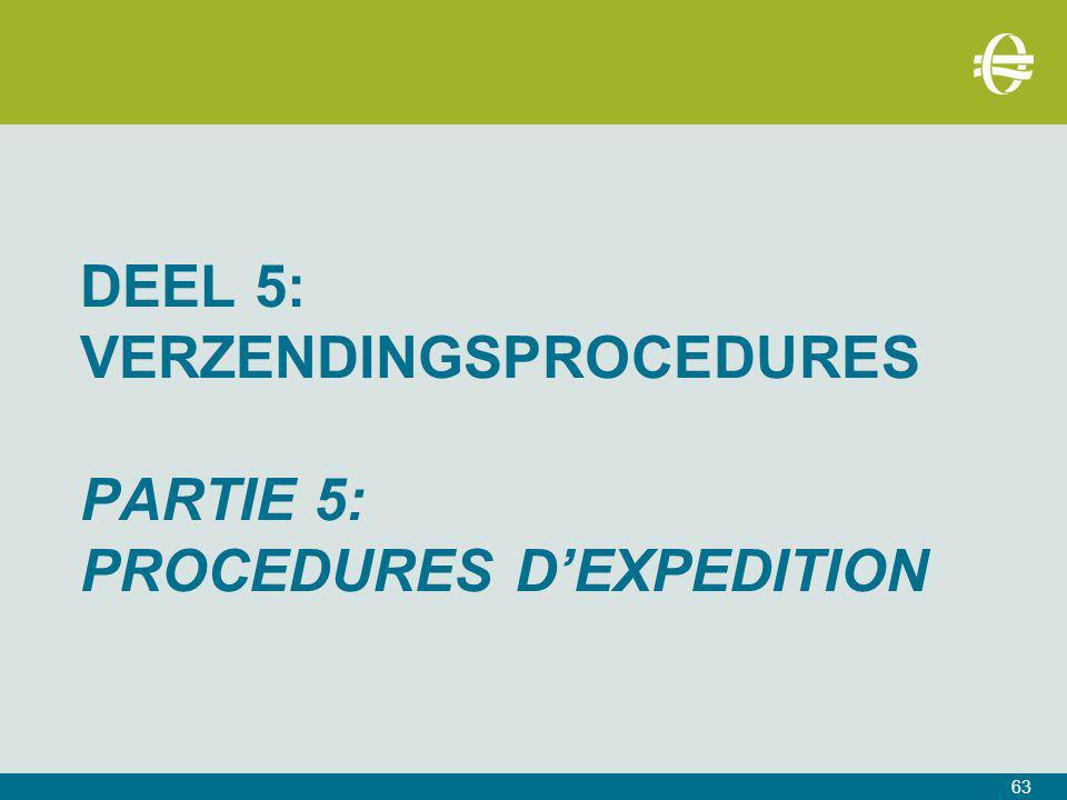 DEEL 5: verzendingsprocedures PARTIE 5: PROCEDURES D'EXPEDITION