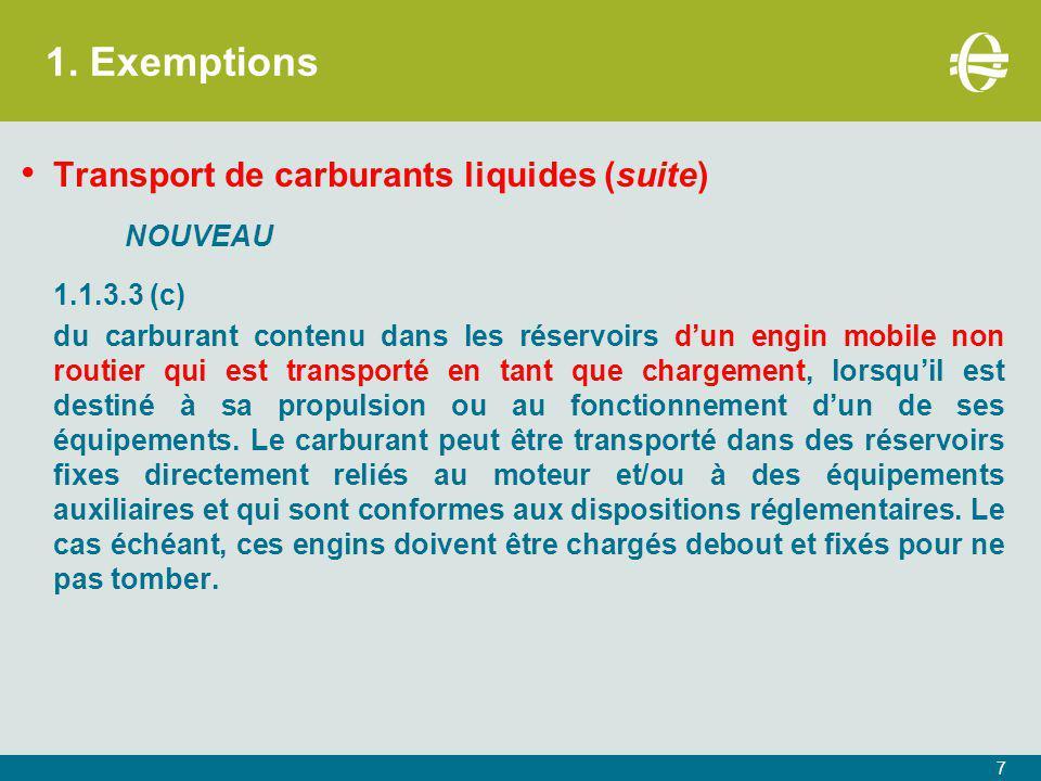 1. Exemptions Transport de carburants liquides (suite) NOUVEAU