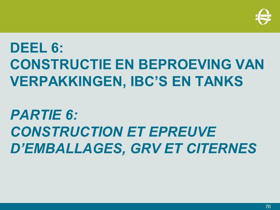 DEEL 6: Constructie en Beproeving van verpakkingen, IBC's en tanks PARTIE 6: CONSTRUCTION ET EPREUVE D'EMBALLAGES, grv ET CITERNES