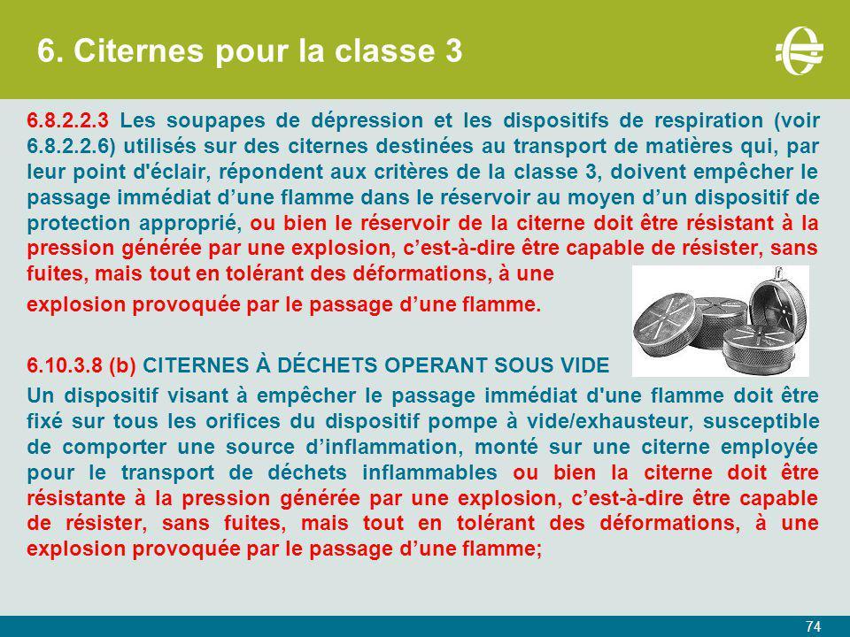 6. Citernes pour la classe 3