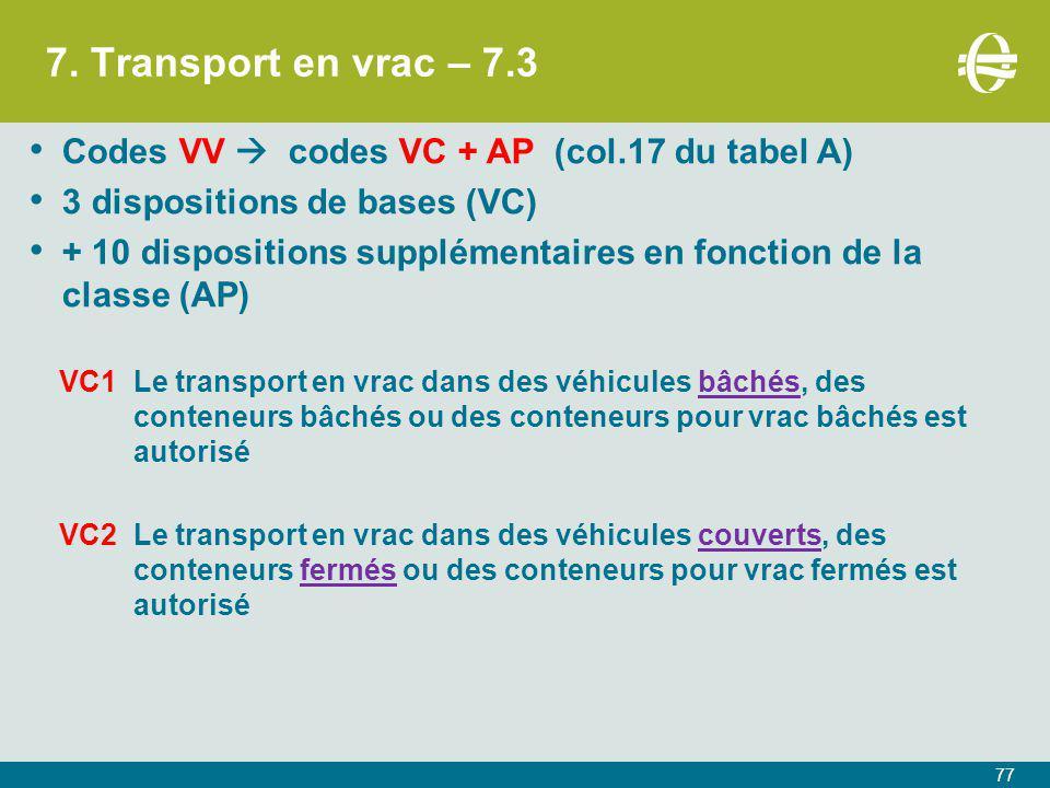 7. Transport en vrac – 7.3 Codes VV  codes VC + AP (col.17 du tabel A) 3 dispositions de bases (VC)