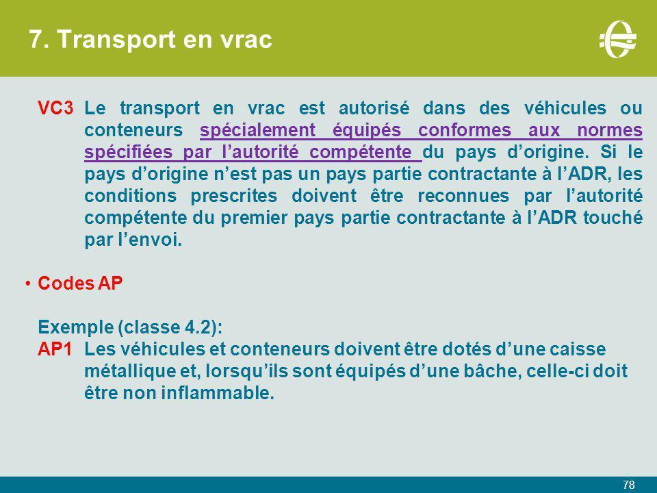 7. Transport en vrac