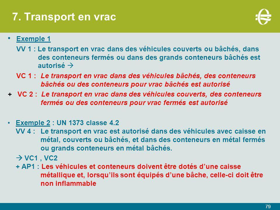 7. Transport en vrac Exemple 1