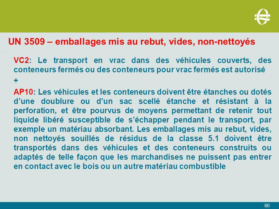 UN 3509 – emballages mis au rebut, vides, non-nettoyés