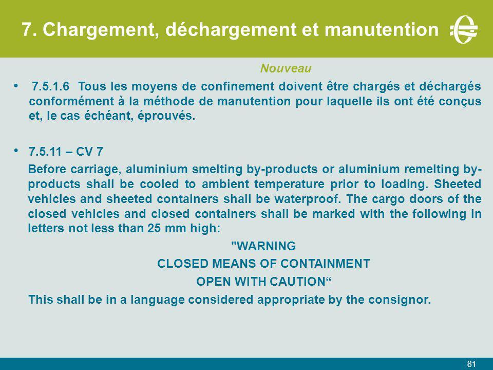 7. Chargement, déchargement et manutention