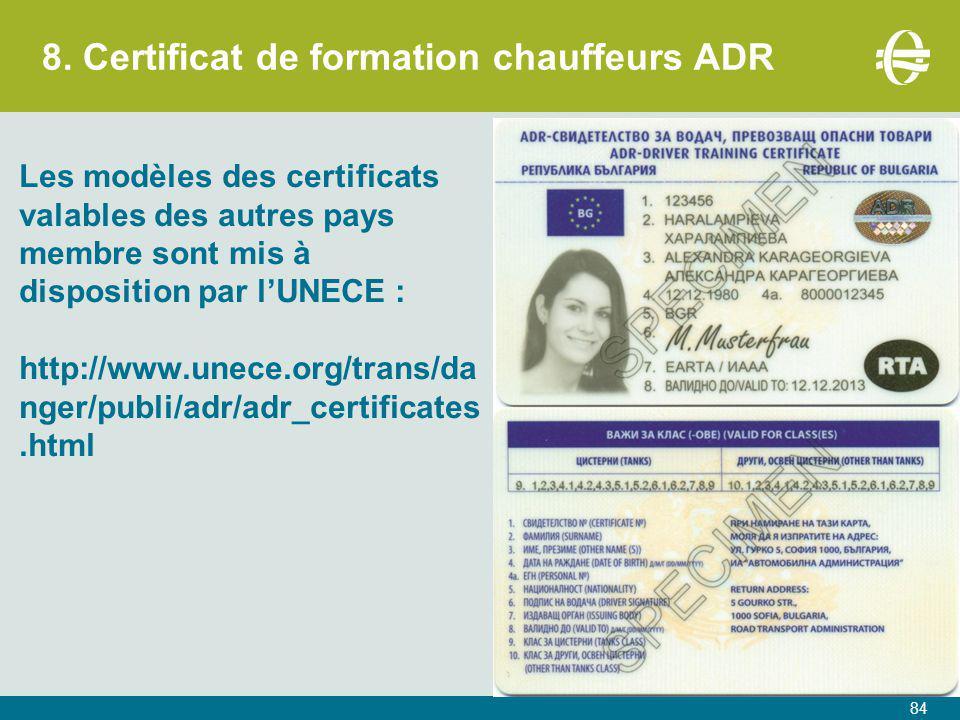 8. Certificat de formation chauffeurs ADR
