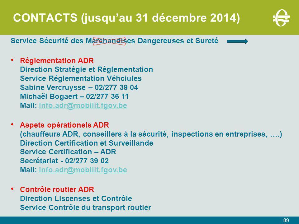 CONTACTS (jusqu'au 31 décembre 2014)