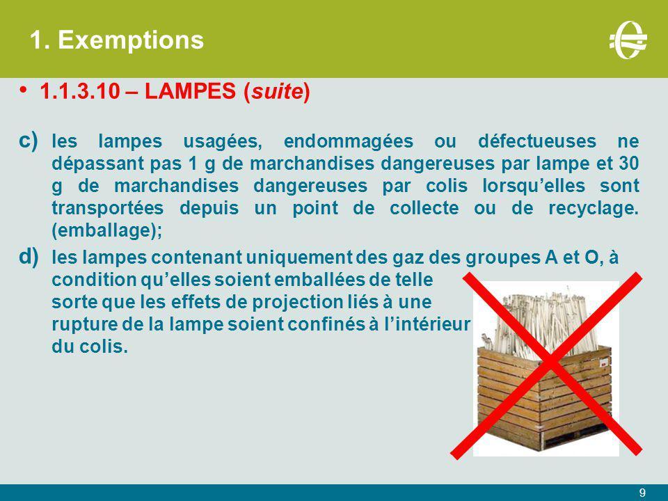 1. Exemptions 1.1.3.10 – LAMPES (suite)
