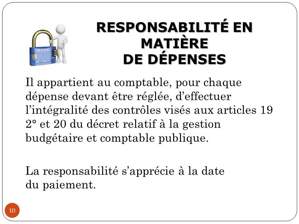 RESPONSABILITÉ EN MATIÈRE DE DÉPENSES
