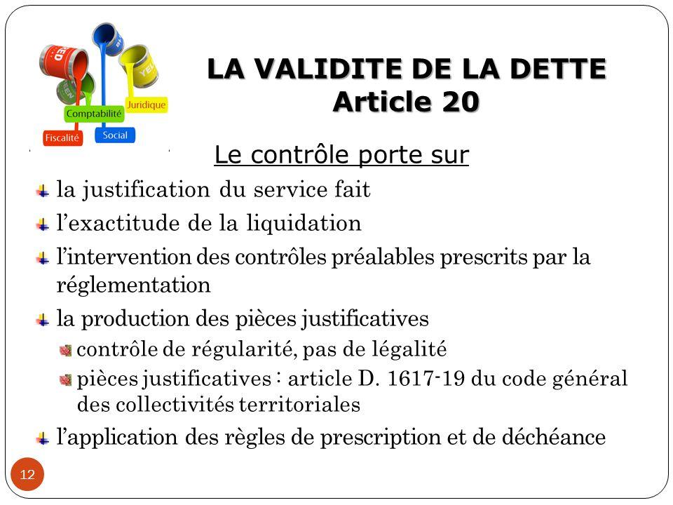 LA VALIDITE DE LA DETTE Article 20