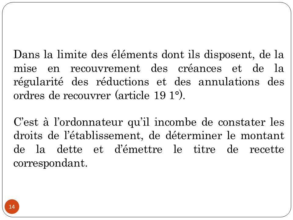 Dans la limite des éléments dont ils disposent, de la mise en recouvrement des créances et de la régularité des réductions et des annulations des ordres de recouvrer (article 19 1°).