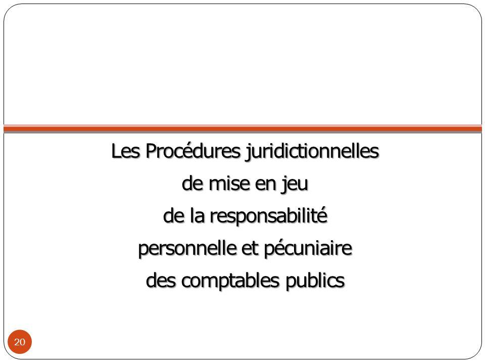 Les Procédures juridictionnelles de mise en jeu de la responsabilité personnelle et pécuniaire des comptables publics